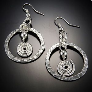 Handcrafted Hammered Silver Circles Earrings
